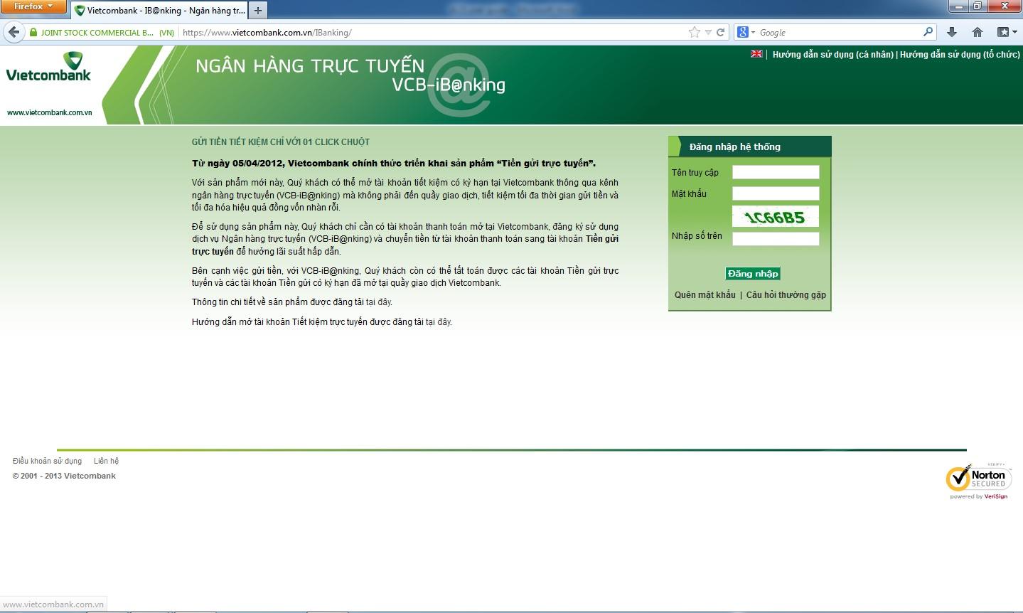 Các bước cài các hình thức nhận mã OTP của Vietcombank Internet Banking