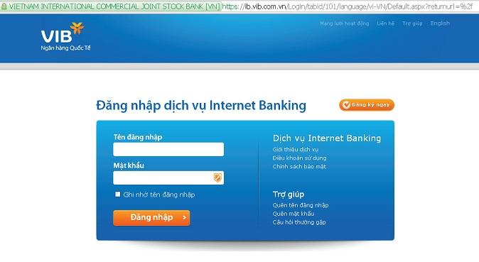 Thao tác đăng nhập vài internet banking của VIB rất đơn giản và dễ dàng.