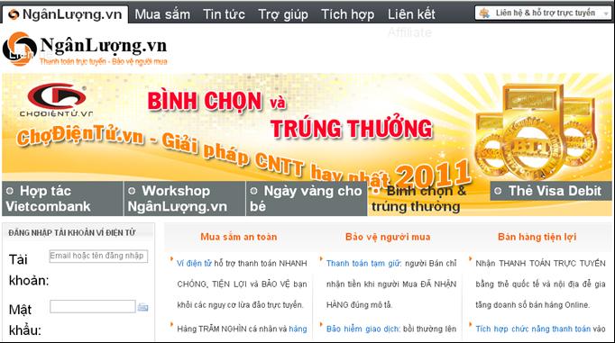 Giao diện chính của nganluong.vn