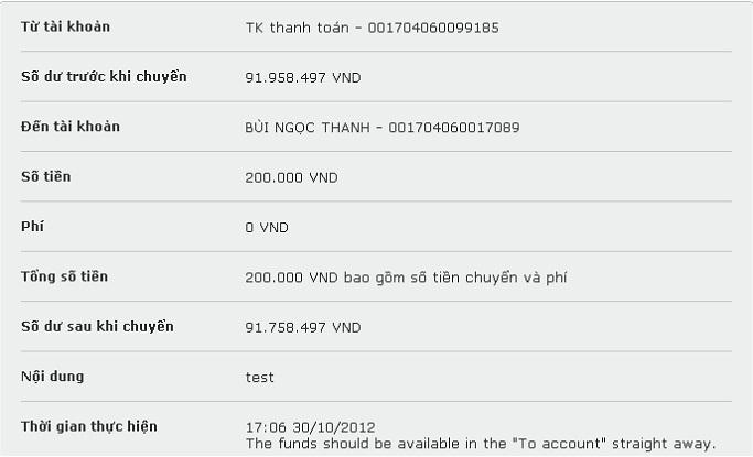 Xác nhận lại giao dịch bằng mã OTP