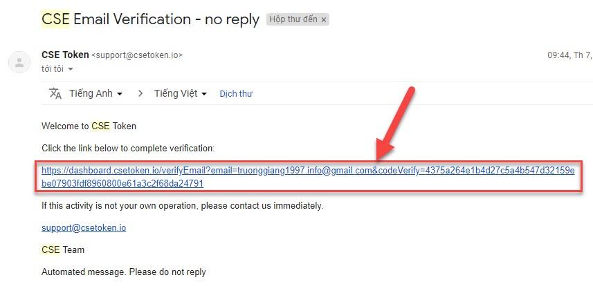 Xác thực tài khoản Email bạn đã đăng ký thành công tài khoản CSE30