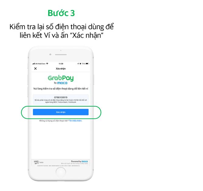 Kiểm tra số điện thoại để liên kết ví trên GrabPay by Moca
