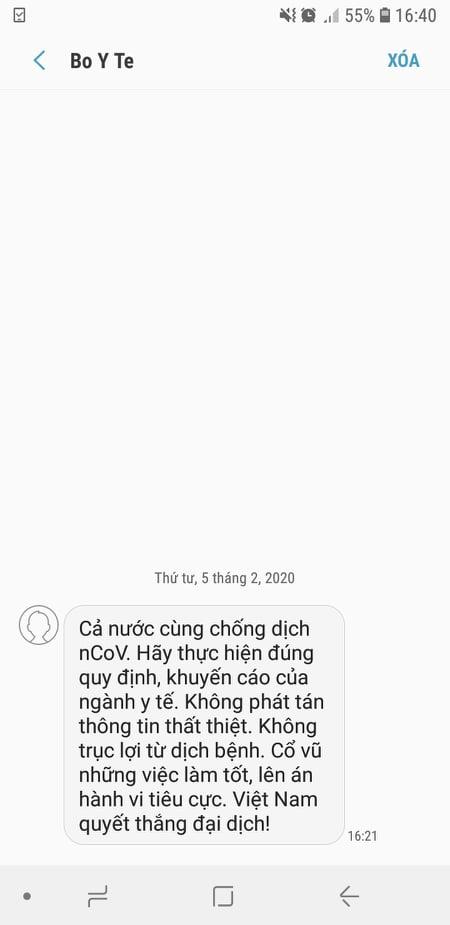 Bộ y tế gửi SMS