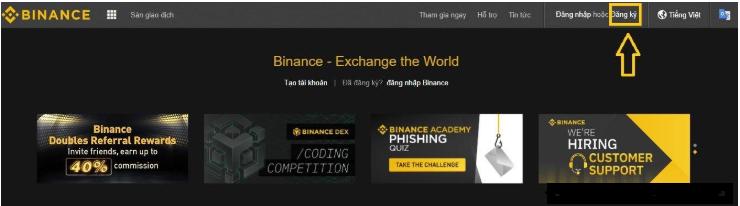 Cách đăng kí tài khoản Binance