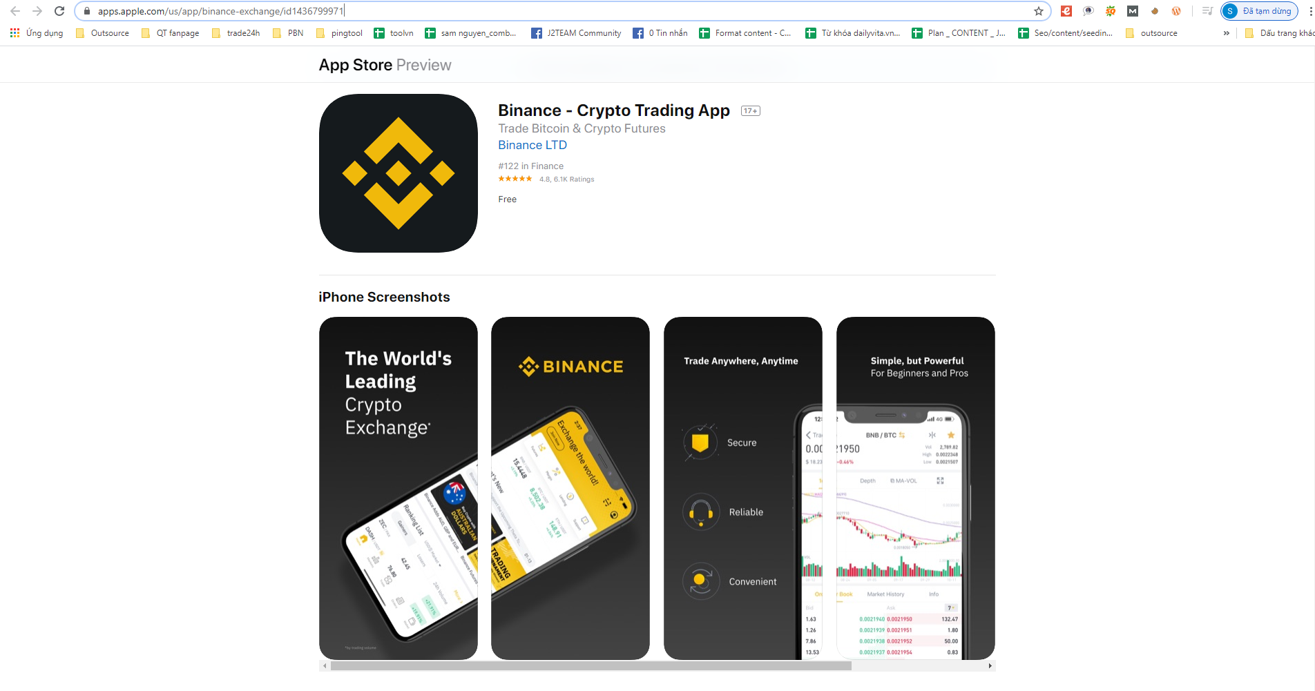 Tải ứng dụng Binance trên App Store