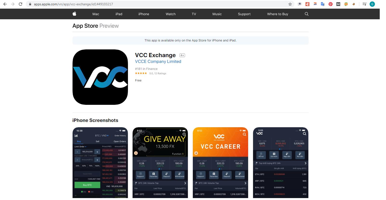 App VCC trên App Store
