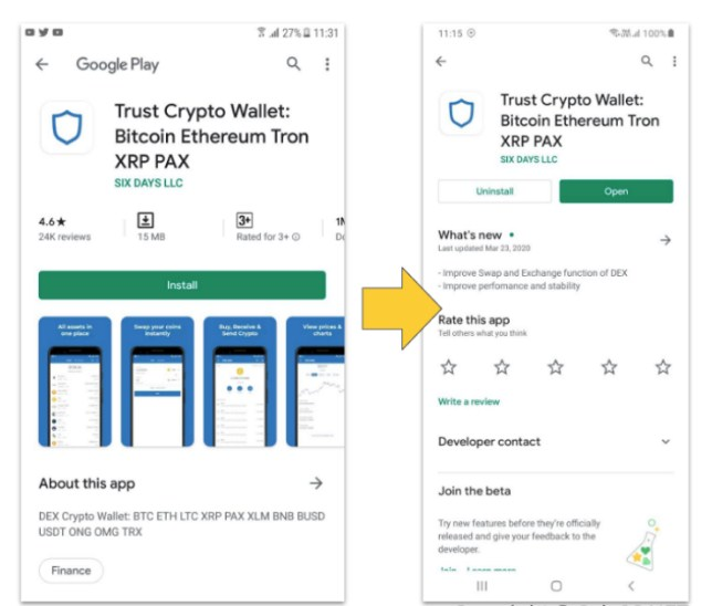cài đặt ví Trust Wallet