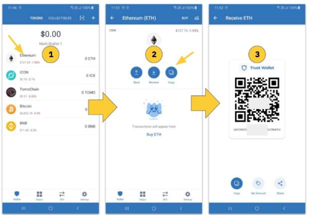 Hướng dẫn cách nhận token từ ngoài vào ví Trust Wallet