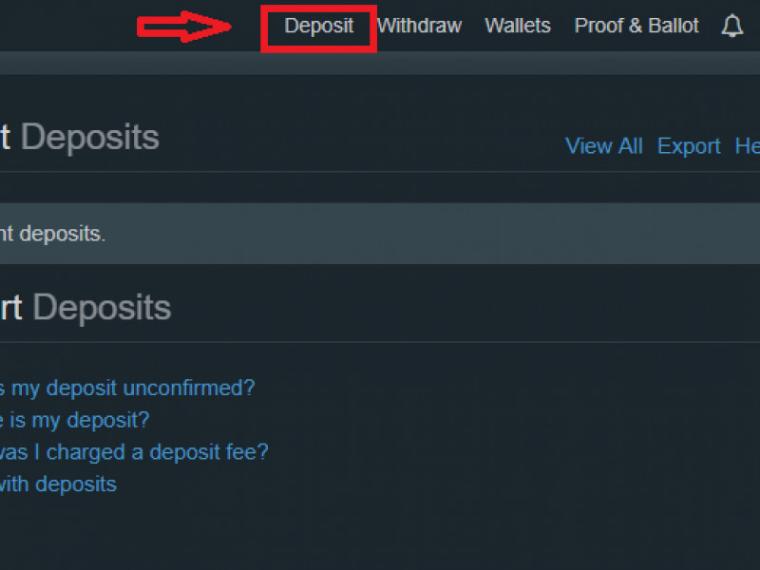 "Chọn ""Deposit"""