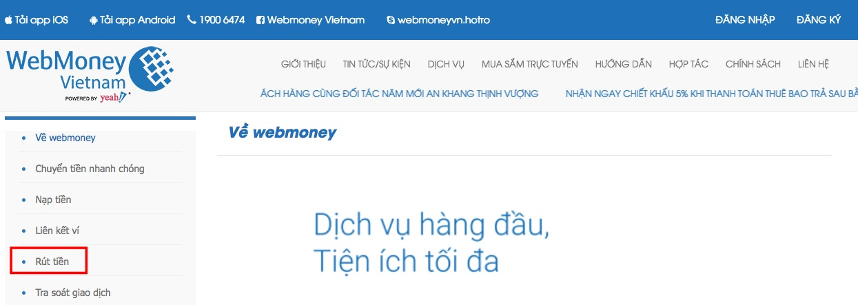 Rút tiền bằng WebMoney