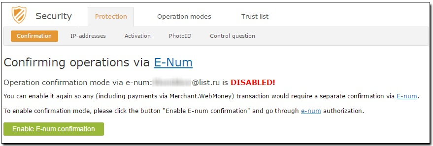 "Vào ""Enable E-num confirmation"""